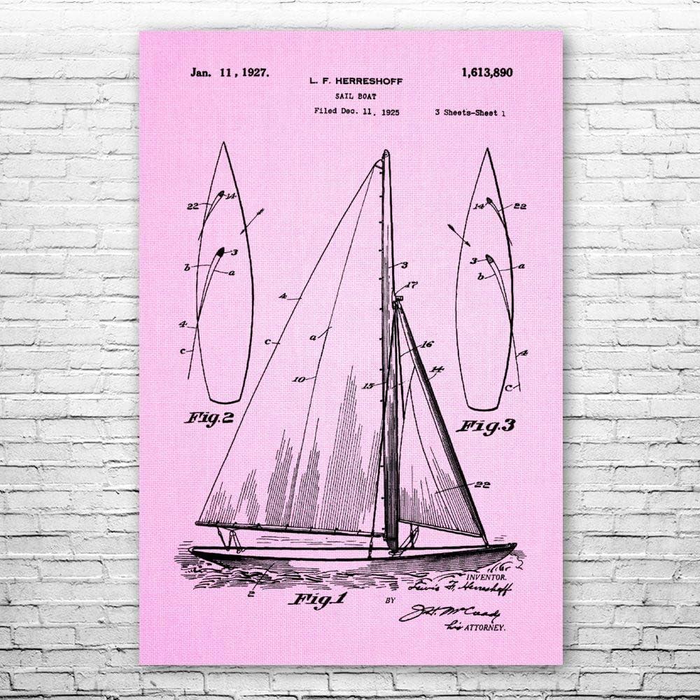 正規店 Sailboat 低価格 Poster Print Nautical Boat Sailor Gift Blueprin