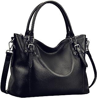 Heshe Womens Leather Vintage Handbags Top Handle Bags Totes Purse Satchels Shoulder Handbag Cross Body Bag for Ladies Larg...