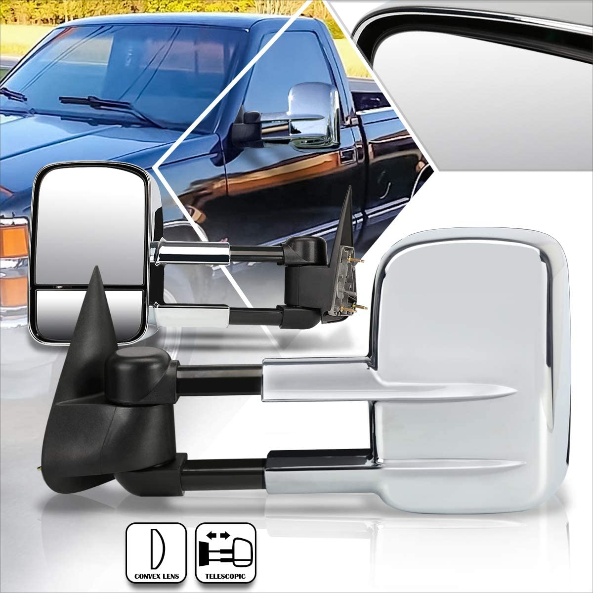 Pair Chrome Manual Extendable Side Towing Mirrors Compatible wit