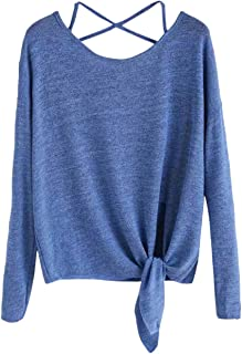 Wintialy Women Daily Casual Crow Tied Up Long Sleeve Soild Fasion Tops Blouse T-Shirt