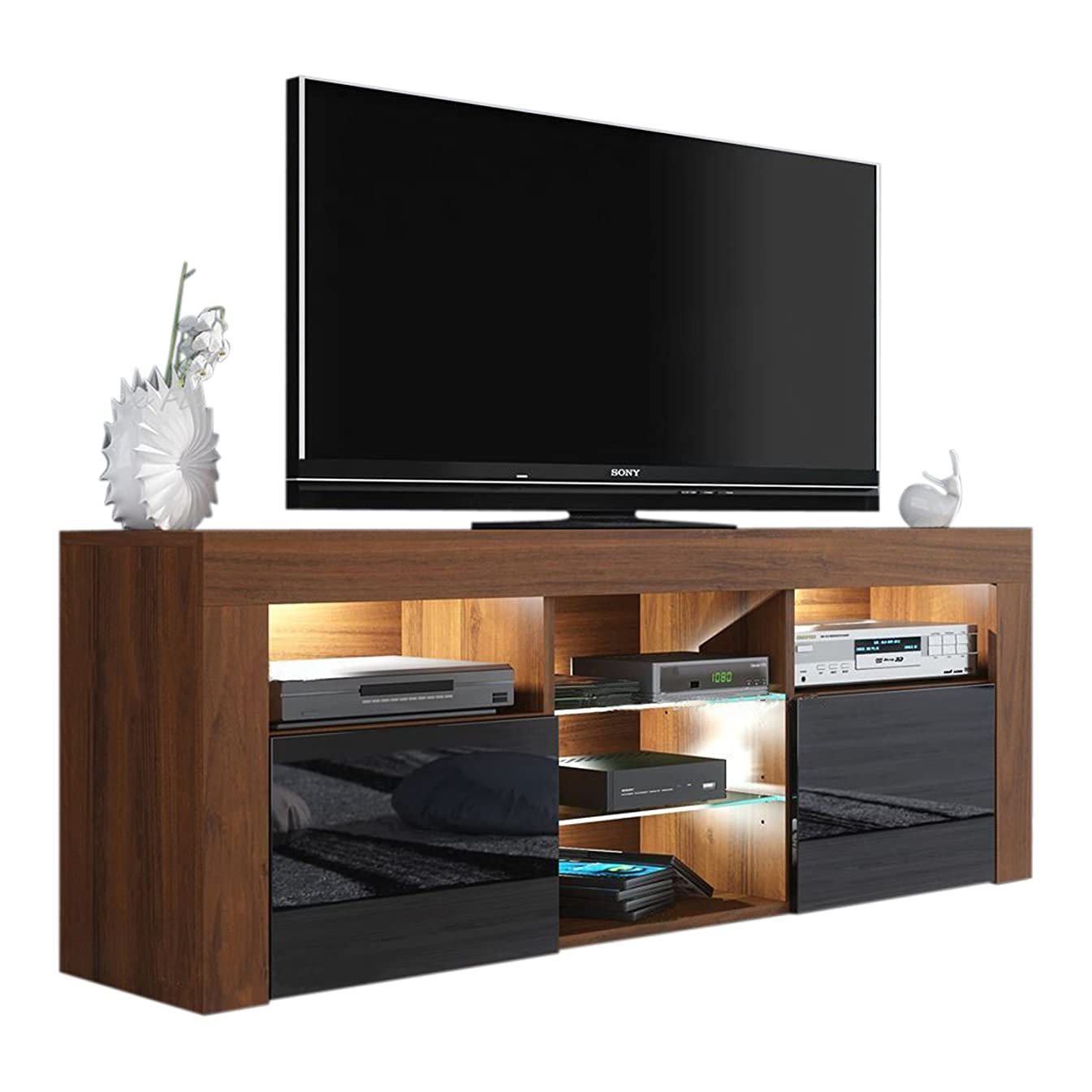MEBLE FURNITURE & RUGS Milano 145 Modern TV Stand Matte Body High Gloss Fronts (Walnut/Black)