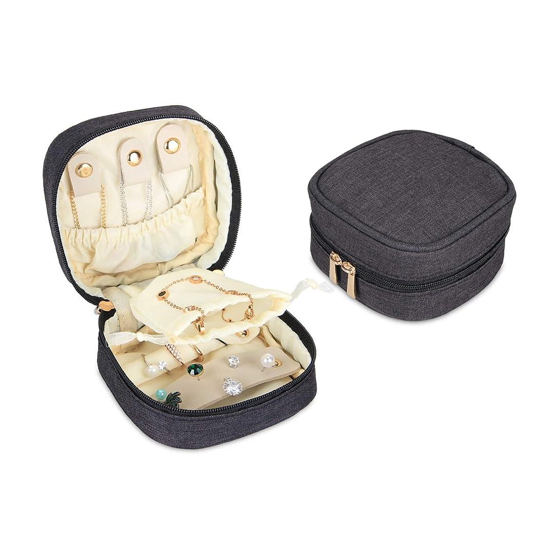 航空羊の服を着た狼あざTeamoy ミニジュエリーポーチ トラベルケース 軽量 ネックレス イヤリング リング ブレスレット 収納 携帯用 黒