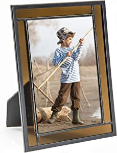 Brown Picture Frame Stained Glass Home Décor Office Deck Table Top 4x6 Photo Horizontal Vertical Easel Back Series J Devlin