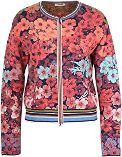 IVKO Floral Rhapsody Pattern Cardigan in Marine Cotton Zip Up Sweater Jacket