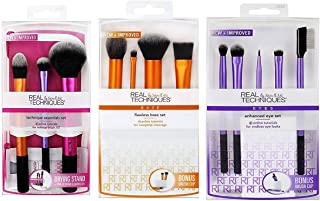 Real Techniques Brush Set (Technique Essentials 1400, Flawless Base Set 1533, Enhanced Eye 1534)
