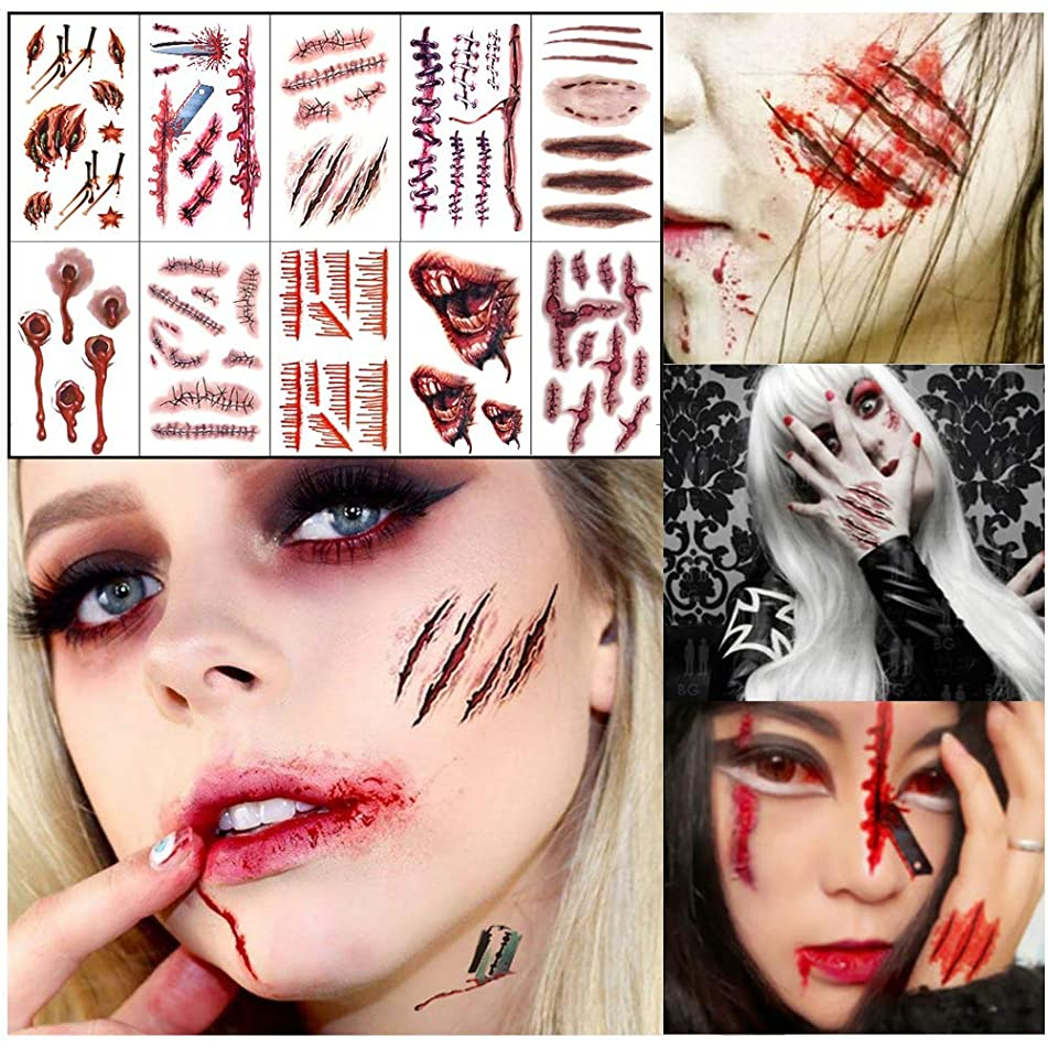 Halloween Face Tattoo Sticker Glitter Red Roses Day of The Dead Sugar Skull Scar Wound Injury Blood Fake Waterproof Removable Temporary Tattoos for Halloween Masquerade Cosplay Makeup Party 10 Pack