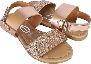 bebe Girls Metallic Sandals with Chunky Glitter Strap (Little Kid/Big Kid)