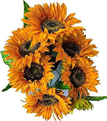 1* Artificial Flowers Fake Sunflowers Leaf Bouquet Decor Table Garden O6U7
