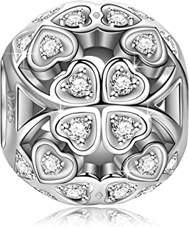 Christmas Charms Gifts Lucky Clover 925 Sterling Silver Heart Shape Charms with Twinkling Cubic Zirconias, Gift Packaging Fit for Pendant&Choker Necklace