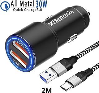 Cargador de Coche para Movil Samsung S8 S9 S10 Plus S10E S20 S20+ Ultra 5G,Galaxy Note 10 8 9/10 Lite,A30S A30 A20E A51 A21 M21 M31 Sony Xperia XZ1 XZ2 XA1 XA2,Doble Puerto:QC3.0+2.4A+2M USB C Cable