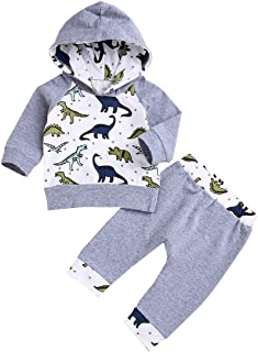 YOUNGER TREE 2Pcs Newborn Baby Boys Girls Dinosaur Hoodie Clothes Long Sleeve Tops+ Gray Pants Outfit Set