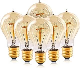 Edison Light Bulbs,HESSION A19 40w Vintage Antique Tungsten Filament Bulbs,E26 Base Edison Bulbs, Decorative Light Bulb Dimmable 110V Amber Glass(6 Pack)
