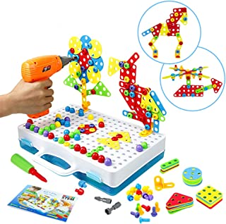 Symiu Mosaique Enfant Puzzle 3D - Jeu Construction Jouet Montessori Perceuse Électronique Créatif Jouet à Visser Jeux Éduc...