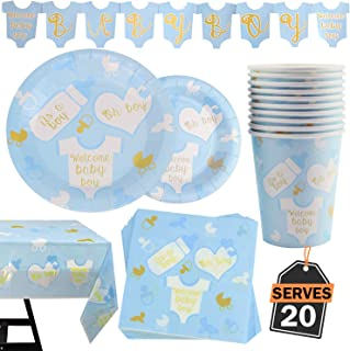 82 Piece Baby Boy Shower Party Supplies Set Including Plates, Cups, Table Napkins, Tablecloth and Banner, Serves 20