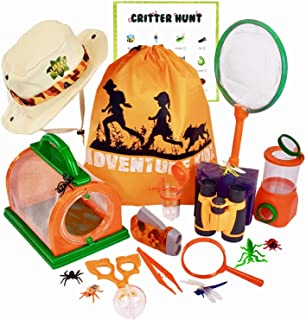 Adventure Kidz Outdoor Bug Exploration Kit, Binoculars, Magnifying Glass, Bug Containers and Viewers, Critter Cage, Butterfly Net, Backpack, Hat, for Boys and Girls