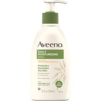 Aveeno Daily Moisturizing Body Lotion with Broad Spectrum SPF 15 Sunscreen, Soothing Oat & Rich Emollients to Nourish Dry Skin, Non-Greasy, 12 fl. oz