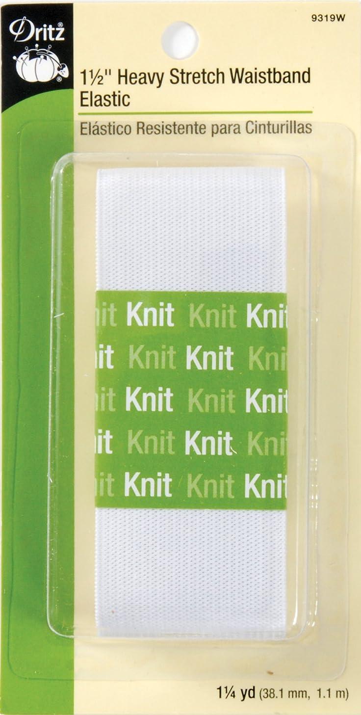 Dritz 9319W Heavy Stretch Waistband Knit Elastic, White, 1-1/2-Inch by 1-1/4-Yard
