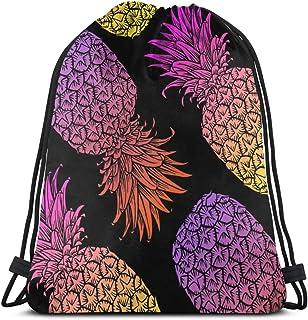 Women's Pineapple Drawstring Backpack Waterproof Yoga Travel Bag