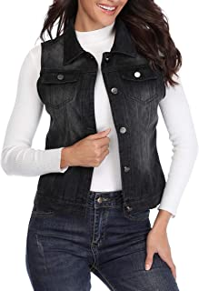 MISS MOLY Sleeveless Jeans Jacket for Women Washed Denim Vest Button Up w 2 Chest Flap Pockets …