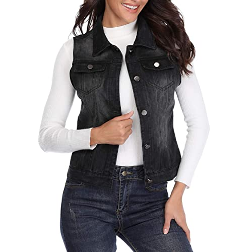 4dea24523b MISS MOLY Womens Denim Vest Button Up Sleeveless Washed Jean Jacket w 2  Chest Flap Pockets