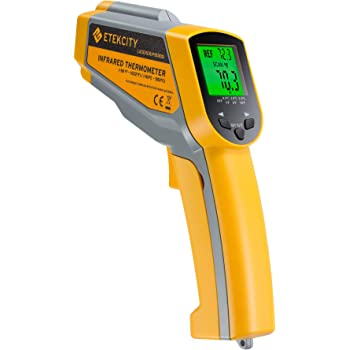 Etekcity Lasergrip 1030D Infrared Thermometer (Not for Human) Gun Dual Laser Non-Contact Temperature Filtering-58℉ to 1022℉ (-50℃ to 550℃), 8.9 x 2.2 x 5.3, Yellow & Gray