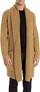 Pengfei Mens Cardigan Sweaters Open Front Chunky Knit Shawl Collar Long Sleeve Jacket Coat