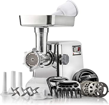 STX Turboforce 3000 Heavy Duty 5-In-1 Powerful Size #12 Electric Meat Grinder • Sausage Stuffer (3 Sizes) • Kubbe Maker • Burger/Slider Maker • 2 Meat Claw Holders • 3 S/S Blades • 4 Grind...