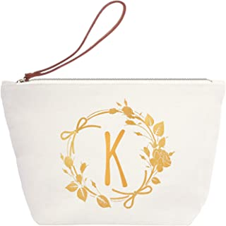 ElegantPark K Initial Monogram Personalized Travel Makeup Cosmetic Bag Wristlet Pouch Gifts with Zipper Canvas