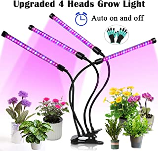 Upgraded Grow Light, 4 Heads 72pcs LEDs Plant Light for Indoor Plants, Auto ON/Off Full Spectrum Plant Grow Light, 4/8/12H Timer 5 Dimmable Levels Growing Lamp for Garden Seedling Herbs Succulent