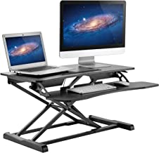 """HUANUO Standing Desk Height Adjustable - Sit to Stand Up Desk Converter Gas Spring Riser with Keyboard Tray and Grommet Mounting Hole For Monitor Stand, LIFT Workstation Desktop From 4.2"""" to 20.1"""""""