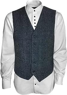 The Celtic Ranch Men's Irish Vest Full Back Grey Herringbone Tweed Wool Blend