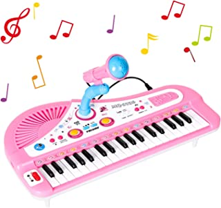 Shayson Piano for Kids, 37 Keys Electronic Keyboard Multifunctional Keyboard Piano Music Set with Microphone Educational Toy for Toddlers Kids Children