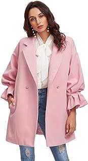 Women's Drop Shoulder Pearl Detail Ruffle Cuff Long Sleeve Coat Windbreaker
