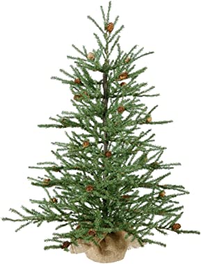 "Vickerman 36"" Carmel Pine Artificial Christmas Tree with Cones and Burlap Base"