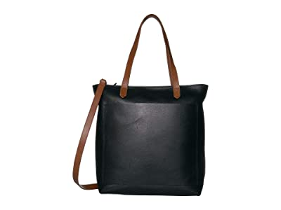 Madewell The Medium Transport Tote w/ Inset Zipper (True Black/Brown) Handbags