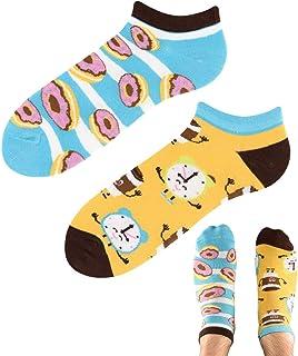 TODO Colours - Calcetines para zapatillas con diseño de donut Heaven Low, divertidos, para hombre y mujer, multicolor