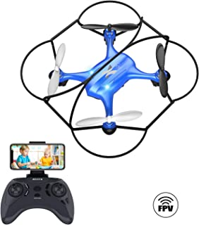 ATOYX AT-96 FPV Mini WiFi Drone,HD FPV WiFi Transmission RC Quadcopter with Altitude Hold Headless Mode 3D Flips One Key Start/Land for Kids and Beginners(Blue)