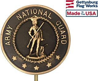 US Army National Guard Oversized Bronze Grave Marker - Cemetery Memorial Flag Holder, Army NG Veteran Plaque, Made in USA