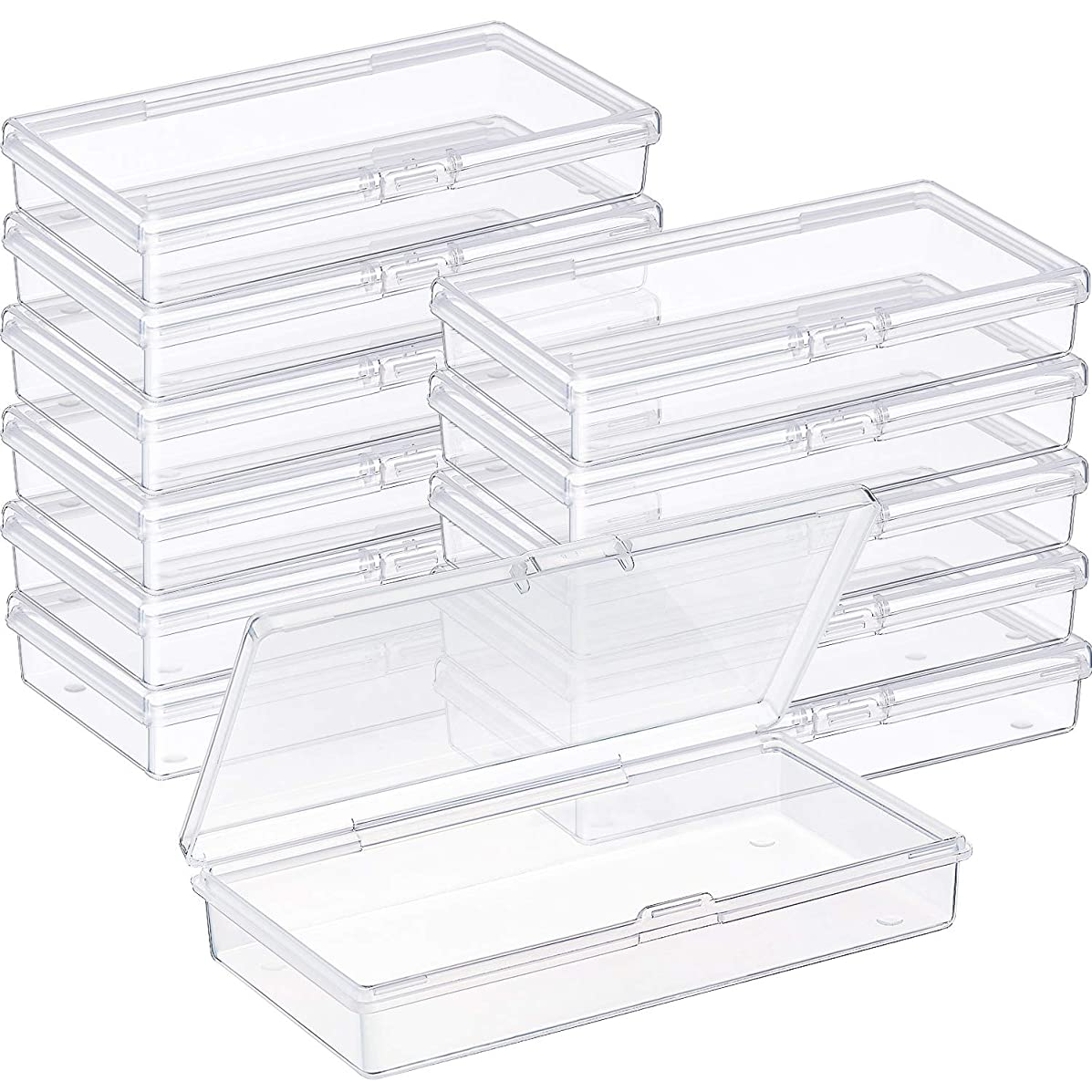 SATINIOR 12 Pack Clear Plastic Beads Storage Containers Box with Hinged Lid for Beads and More (4.8 x 2.45 x 0.9 Inch)