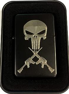 Punisher Skull Crossed AR Rifles Guns Black Engraved Cigarette Lighter LEN-0208