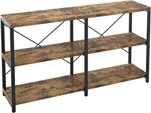 IRONCK Bookshelf Double Wide 3Tier, Rustic Bookcases, Wood and Metal Bookshelves, Book Shelves for Home Office Decor Display, Easy Assembly, Vintage Brown