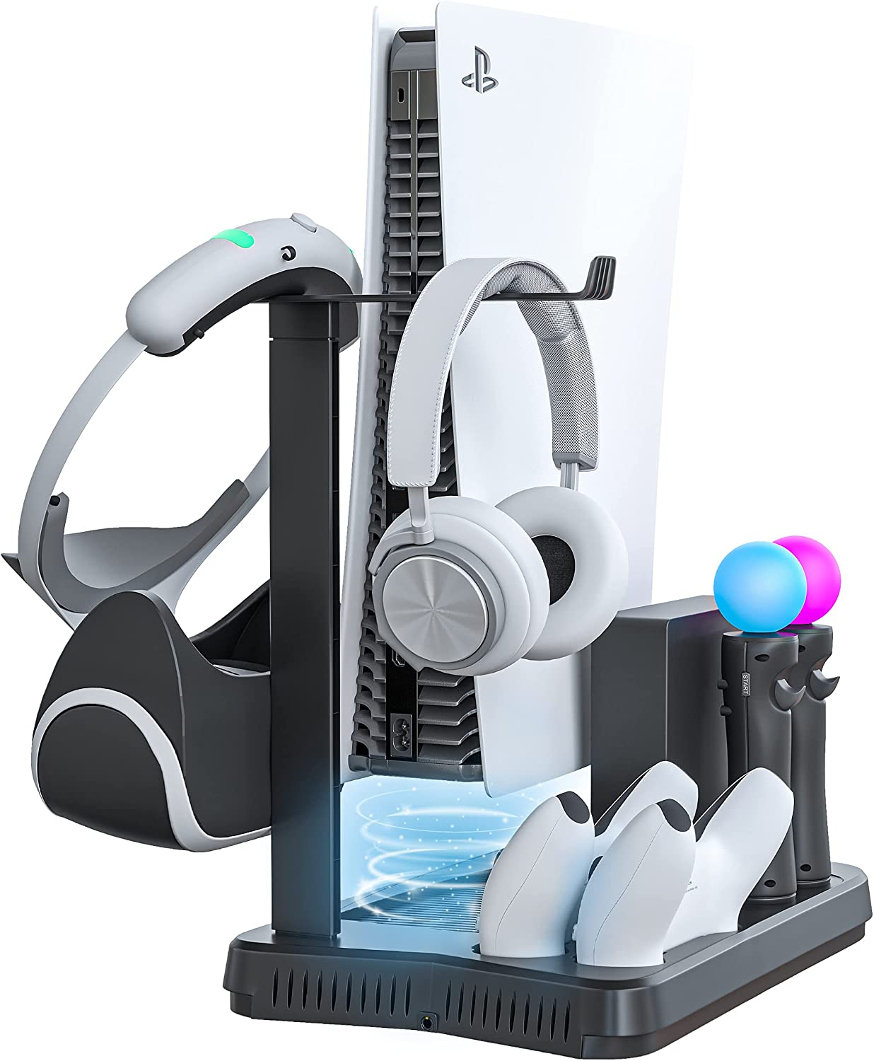 Skywin PSVR Charging Display Stand - Showcase, Cool, Charge, and Display Your PS VR - Compatible with Playstation. PS5 Headset Stand, Fan, Controller Charger and Hub (PS5 VR)