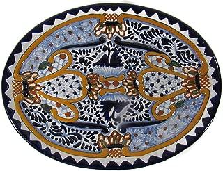El Relicario de Los Tesoros Genuine Talavera Large Oval Tray Hand Made in Traditional Process Puebla, Mexico (Blue & Orange Floral)