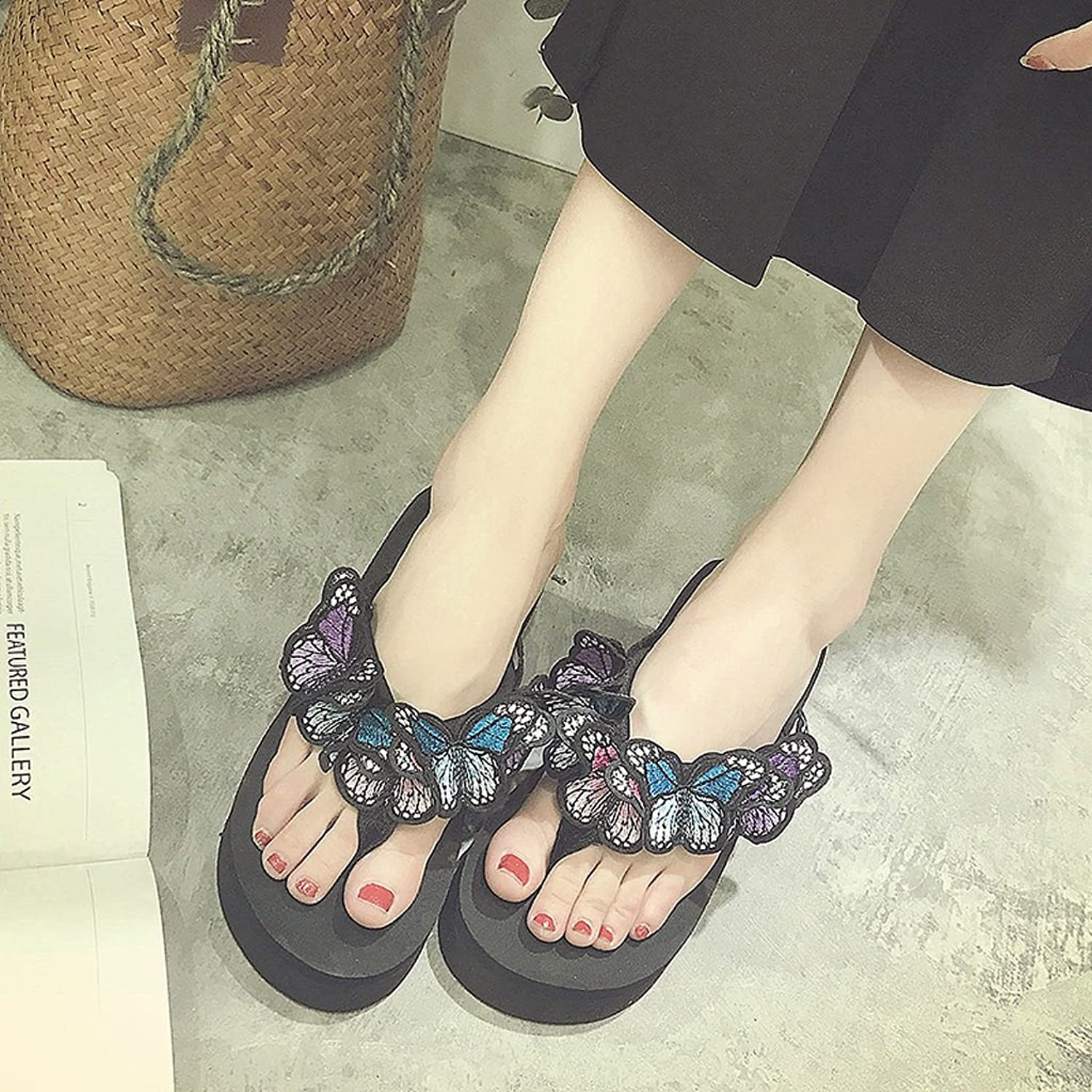 Female butterfly sandals comfortable anti-skid slippers fashion outdoor beach shoes ( Size   US 7\UK 6\EUR 39 )