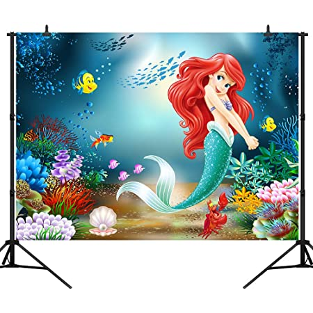 Photo Background Tabletop 7x5ft Backdrop Ariel Mermaid Under The Sea Baby Shower Backdrops Happy Birthday Little Mermaid Background Themed Party Photo