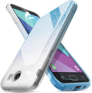 HOKOO Compatible Samsung Galaxy J7 2017 Case,Galaxy J7 Prime/Galaxy J7 Perx/Galaxy J7 V J7V/Galaxy J7 Sky Pro/Galaxy Halo Case,with Screen Protector Three Layer Glitter Bling Case for Girls-Blue