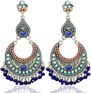 RechicGu Tribal Vintage Silver Crescent Blue Stone Banjara Kuchi Belly Dance Jhumka Gypsy Earrings