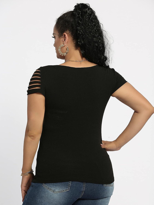 WDIRARA Women's Plus Size Ripped Square Neck Short Sleeve Tee T Shirt Top