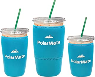 3 Pack Reusable Iced Coffee Sleeve   Insulator Cup Sleeve for Cold Drinks Beverages   Neoprene Cup Holder   Ideal for Starbucks, McDonalds, Dunkin Donuts & More (Light Blue)