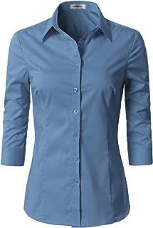 NINEXIS Doublju Womens Basic 3/4 Sleeve Button Down Slim Fit Blouse Shirt